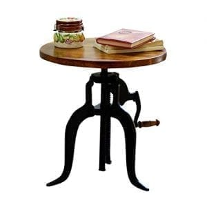 Industrial Coffee/End Table- Adjustable Crank Accent Table, Chestnut/Black