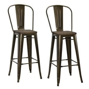 """DHP Luxor Industrial Metal Counter Stool with Wood Seat and Backrest, Set of two, 30"""", Antique Bronze"""
