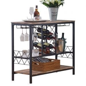 Industrial Storage/Organization- Wine Rack Table with Glass Holder, Console/Buffet Table with Storage, Brown