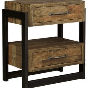 Signature Design Reclaimed Pine wood Industrial Nightstand