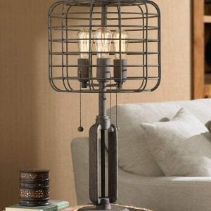Industrial lighting-Rustic Metal Cage Edison Bedside Accent lamp
