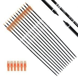 Tiger Archery Bows 30Inch Carbon Arrow Practice Hunting Arrows with Removable Tips for Compound & Recurve Bow(Pack of 12) (Orange White)