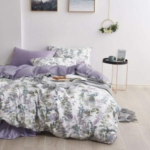 Wake In Cloud Duvet Covers- Floral Duvet Cover Set, Sateen Cotton Bedding, Watercolor Botanical Flowers and Green Tree Leaves Garden Pattern Printed in Light Purple Lilac, with Zipper Closure (3pcs, King Size)